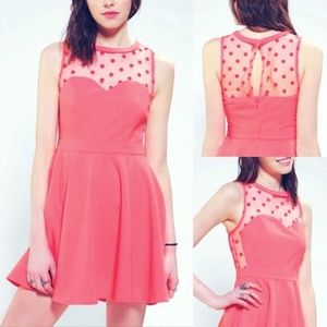 UO Coincidence & Chance Coral Fit and Flare Dress